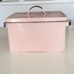 Shabby Chic pink tin 50's 60's style 10 x 7 inches